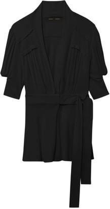 Proenza Schouler Matte Jersey Short-Sleeve Wrap Top