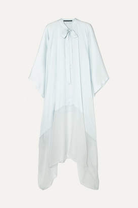 Haider Ackermann Pussy-bow Silk-satin And Chiffon Tunic - Light blue