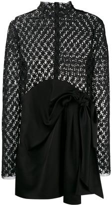 Saint Laurent star embroidered sheer mini dress