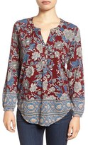 Lucky Brand Floral Print Split Neck Top
