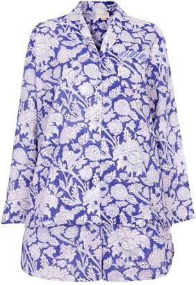 Nologo Chic Hand Printed Shorts Pj'S - Cotton - China Blue
