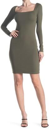 Stateside 1X1 Rib Square Neck Dress