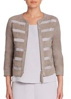 Armani Collezioni Sheer Panel Suede Jacket