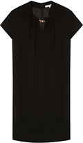 Gerard Darel Nashi Notched V Neck Cap Sleeve Tunic Dress, Black