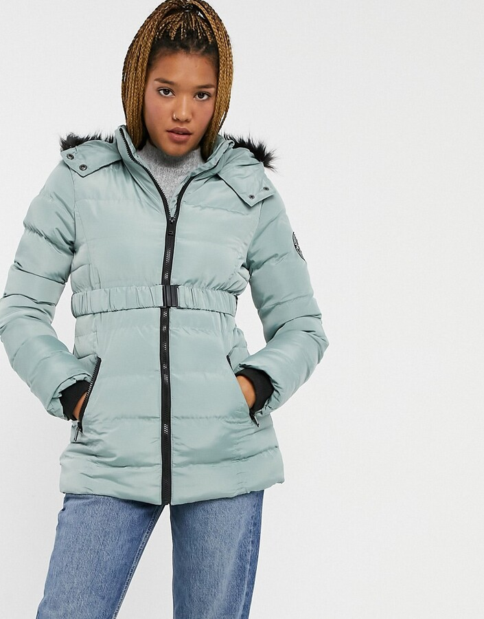 Thumbnail for your product : Brave Soul padded jacket with belt in sage