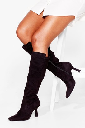 Nasty Gal Womens Talkin' Point Faux Suede Knee High Stiletto Boots - Black - 3
