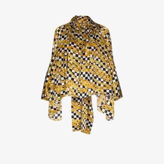 Balenciaga chain print satin blouse