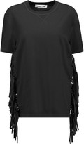 McQ by Alexander McQueen Faux suede-fringed cotton T-shirt