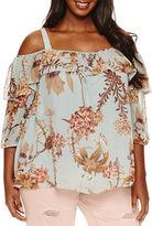 Boutique + + 3/4 Sleeve Cold Shoulder Blouse-Plus