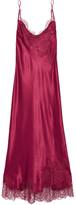 Carine Gilson Lace-trimmed Silk-satin Nightdress - Burgundy