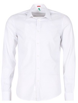 Benetton MERLO men's Long sleeved Shirt in White