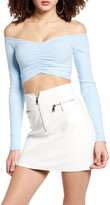 Tiger Mist Sweetheart Off the Shoulder Long Sleeve Stretch Cotton Crop Top
