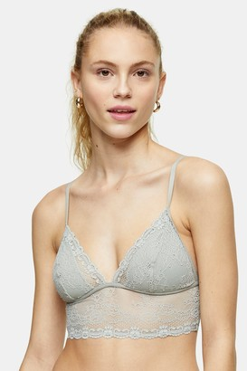 Topshop Womens Sage Recycled Lace Padded Bralet - Sage