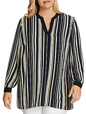 Vince Camuto Plus Striped V-Neck Top