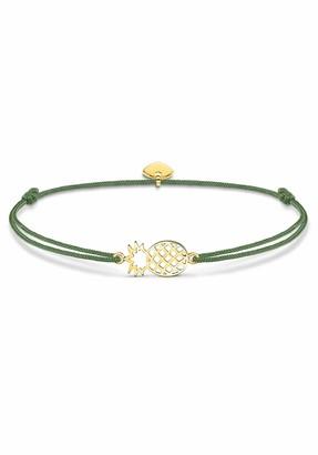 Thomas Sabo Little Secret Pineapple Bracelet 925 Sterling Silver Yellow Gold Plated Nylon Green