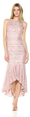 JS Collections Women's Stretch Lace high Low Dress