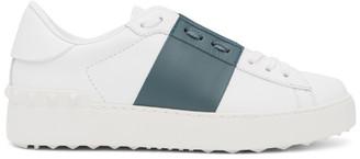 Valentino White and Blue Garavani Open Sneakers