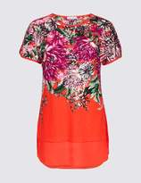 Marks and Spencer Cotton Rich Floral Print Short Sleeve Tunic