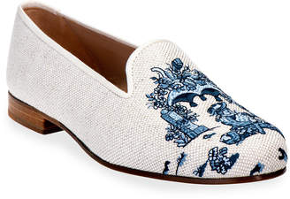 N. Vence Embroidered Linen Smoking Loafers