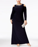 Betsy & Adam Plus Size Cold-Shoulder Ruched Gown