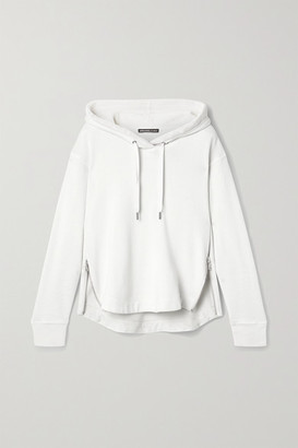 James Perse Zip-embellished Cotton-jersey Hoodie - White