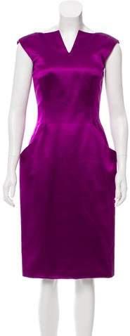 Alexander McQueen Sleeveless Silk Midi Dress