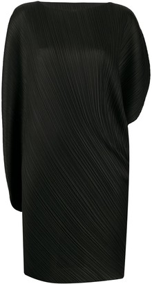 Pleats Please Issey Miyake Curved Asymmetric Sleeve Pleated Dress