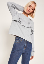 Missguided Grey Frill Front Sweatshirt