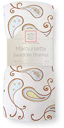 Swaddle Designs Marquisette Swaddling Blanket, Premium Cotton Muslin, Triplets Paisley, Pastel Blue