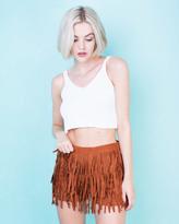 Missy Empire Reven Rust Suede Tassel Shorts