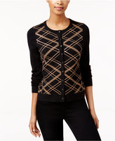 Charter Club Petite Sequined Plaid Cardigan, Only at Macy's