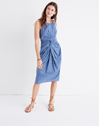Madewell Caron Callahan Goldie Twist-Front Gingham Dress