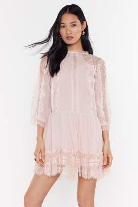 Nasty Gal Womens No Choir Lace Mini Dress - pink - L