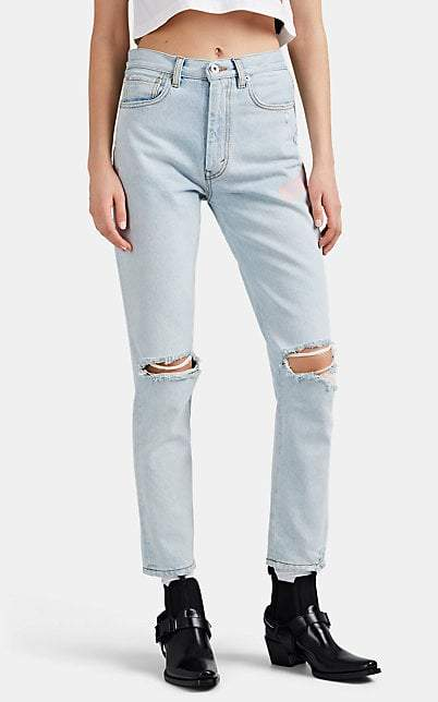 Heron Preston Women's Distressed Straight Jeans - Lt. Blue