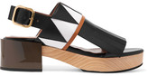 Marni Fringed Smooth And Patent-leather Slingback Sandals - Black