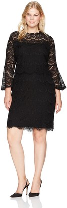 Marina Women's Plus Size Lace Cocktail Dress with Bell Sleeve