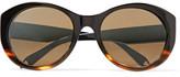 Victoria Beckham Round-Frame Tortoiseshell Acetate Sunglasses