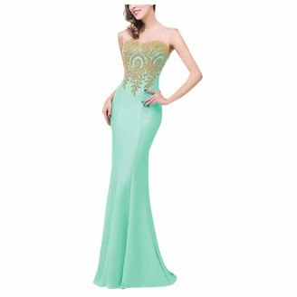 KPILP Bridesmaid Maxi Dress Gold Thread Embroidery Elegant Noble Evening Party Prom Ball Gown for Womens Mermaid Beaded Vintage Style Long Dress(Mint Green S)
