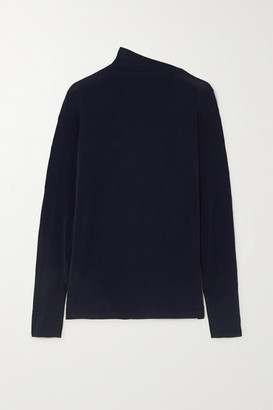 Gold Sign The Asymmetric Mock Stretch-jersey Top - Navy