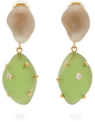 Vanda Jacintho - Artsy Crystal-embellished Drop Clip Earrings - Womens - Green Multi