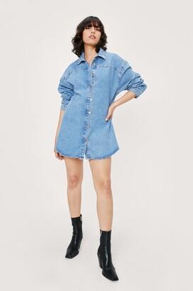 Nasty Gal Womens Oversized Long Sleeve Denim Shirt Dress - Vintage Blue