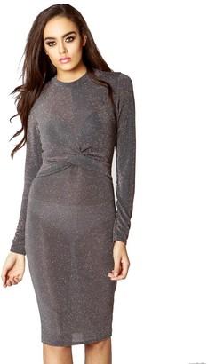 Momo&Ayat Fashions Ladies Twist Sheer Front Bodycon Midi Dress UK Size 8-14 (UK 12 (EUR 40)
