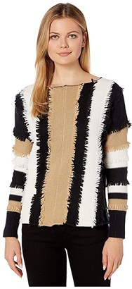 Vince Camuto Long Sleeve Color Block Loopstitch Stripe Boat Neck Sweater (Latte) Women's Clothing