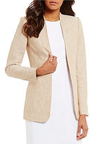 Calvin Klein Heathered Linen Suiting Open Front Long Jacket