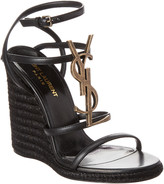 Saint Laurent Cassandra 110 Leather Wedge Sandal