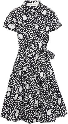 Diane von Furstenberg Zaria Belted Printed Cotton-poplin Shirt Dress