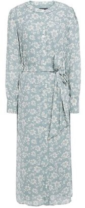 ALEXACHUNG Belted Floral-print Crepe Midi Dress