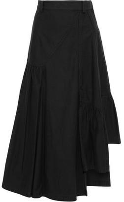 3.1 Phillip Lim Asymmetric Gathered Denim Midi Skirt