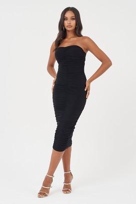 Club L Womens **Black Bandeau Ruched Bodycon Dress By Black
