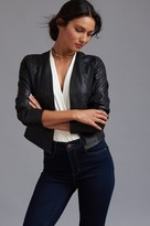Dynamite Collarless Faux Leather Jacket with Scuba